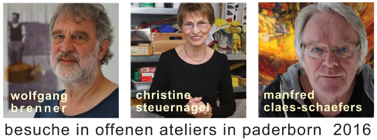 besuche offene ateliers paderborn 2016 bei wolfgang brenner, christine steuernagel, manfred claes-schaefers